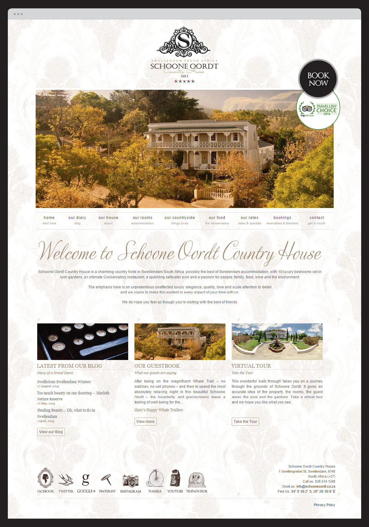 Schoone Oordt Country House Website
