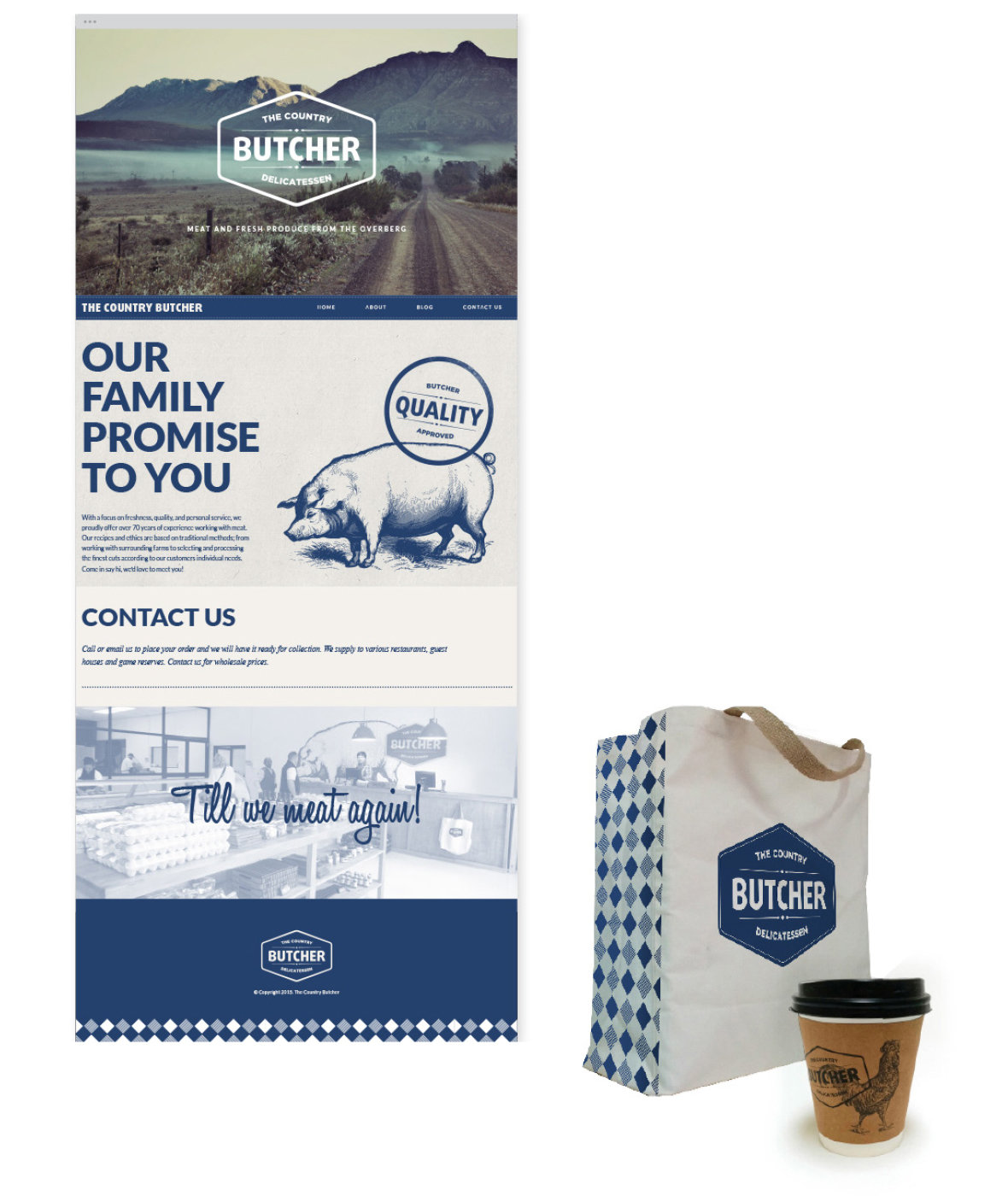 The Country Butcher Website, Coffee and Bag