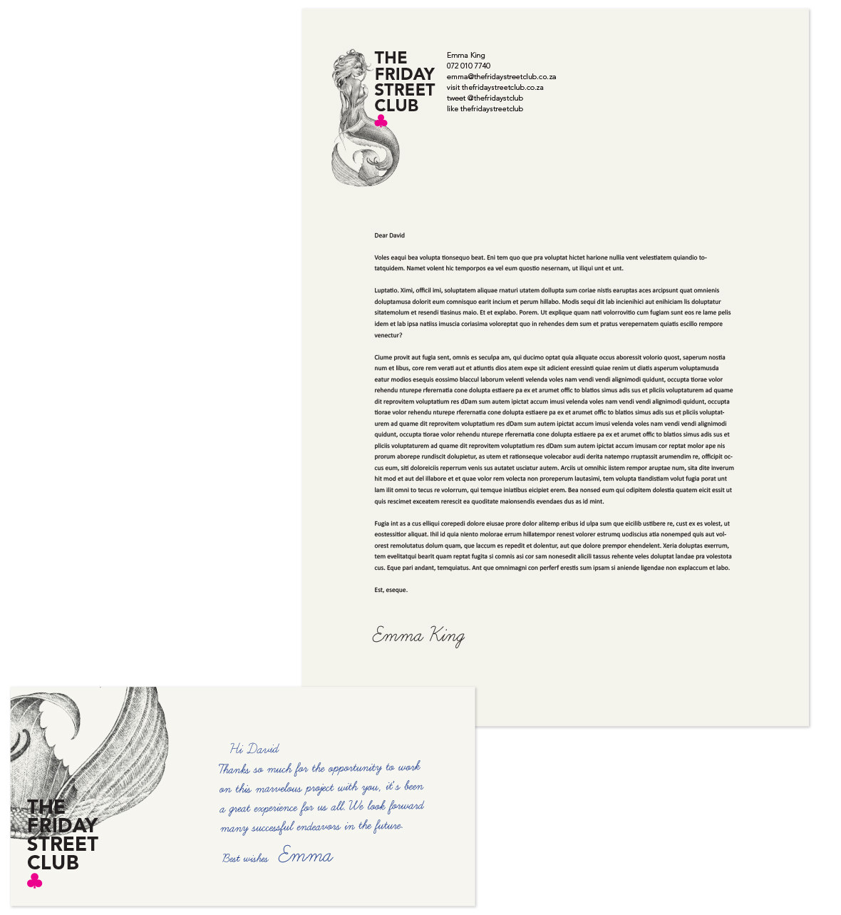 The Friday Street Club Letterhead and Compliment Slip
